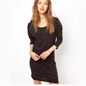 Maison Scotch Jersey Dress Faux Leather Details